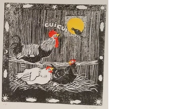 Coqs, chat et poussins... des gravures de May Angeli |